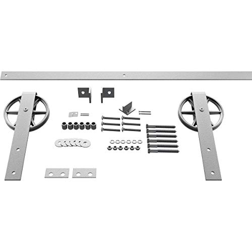 Goldberg Brothers Inc. GB6001454HWCR Premium Wagon Wheel Strap Set Barn Door Hardware, 64 Inch Track Length (for 1 3/4…