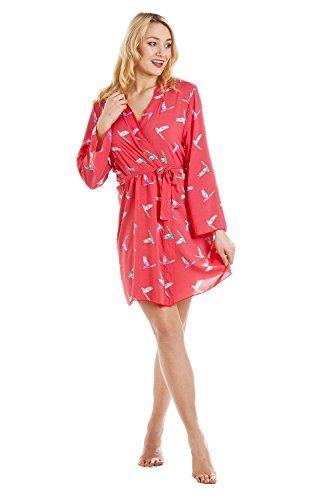 colibrì vestaglia da rosso Completo e camicia con corallo stampa Rossa notte qp0AwCn0