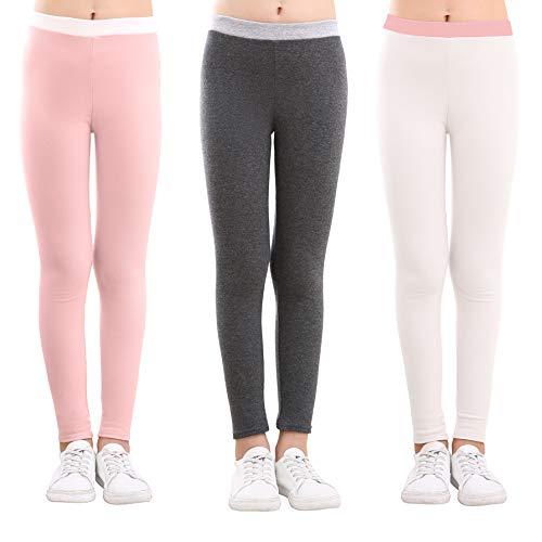 slaixiu Cotton Ankle Length Girls Leggings Warm Stretchy Kids Pants 3-Pack 3-12y(No.6_150)]()