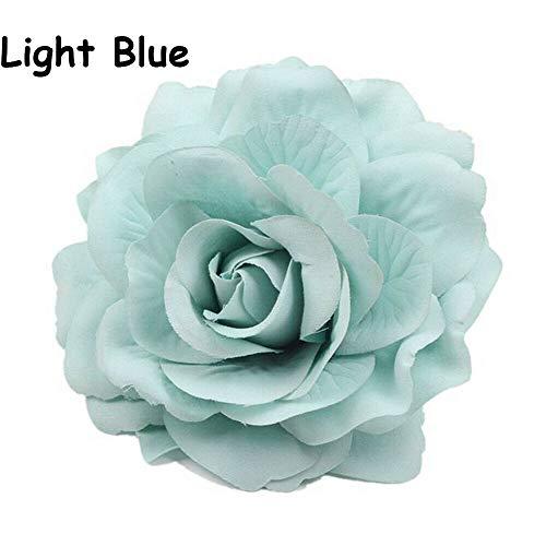 Brooch Bridesmaids Headwear Rose Flower Bridal Headdress Wedding Supplies (Color - light blue) -