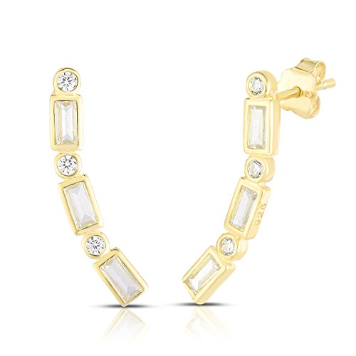 14k Yellow Gold Plated 925 Sterling Silver Round and Baguette Cubic Zirconia Ear Crawler Stud Earrings