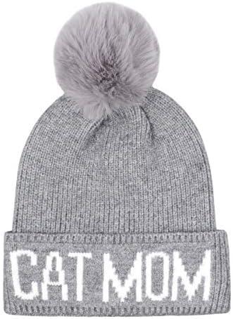 Grey Beanie Hat for Cat with White pom pom.