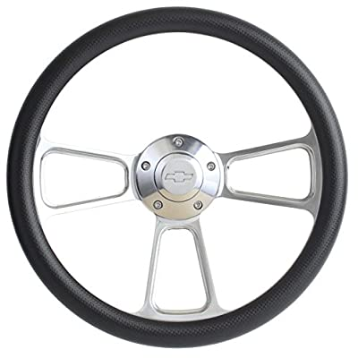 Carbon Fiber Vinyl Steering Wheel 14 Inch Aluminum with Chevy Installation Adapter and Horn: Automotive
