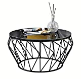 Wrought Iron Glass Coffee Table KXBYMXSimple Folding Table Round Wrought Iron Glass Coffee Table (Color : Black)