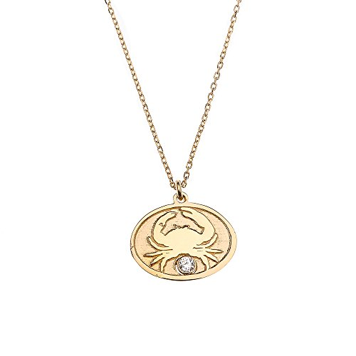 14k Yellow Gold Cancer Zodiac Sign Cubic Zirconia Charm Pendant Necklace, 16