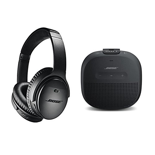 Bose QuietComfort 35 Wireless Headphones II with Microphone, Noise Cancelling, Black - With Bose SoundLink Micro Bluetooth Speaker, Single, Black