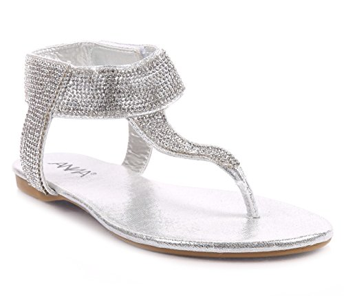 Fashion Sexy Blink T-Strap Hook & Loop Fastener Strappy Women Thong Flat Sandals Shoes New Without Box (7.5, Silver) (T-strap Mini Platform)