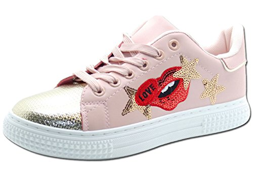 Ladies Shiny Toe Embroidery Sequined Pumps Sneakers Shoes Pink