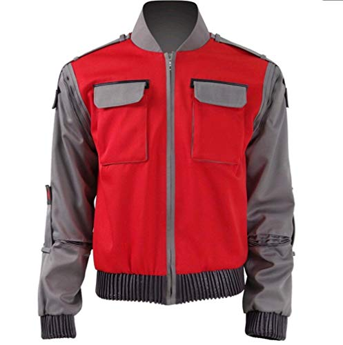 COSFLY Adult Men Marty McFly Jacket Coat Halloween Cosplay Costume Casual Outwear (Medium)]()