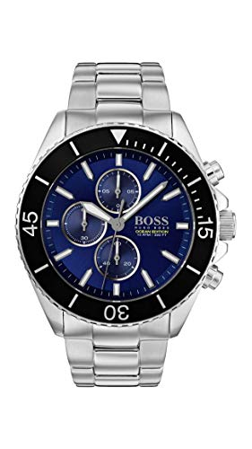 (BOSS Men's Ocean Edition Chrono Quartz Stainless Steel and Bracelet Casual Watch, Color: Silver (Model:)