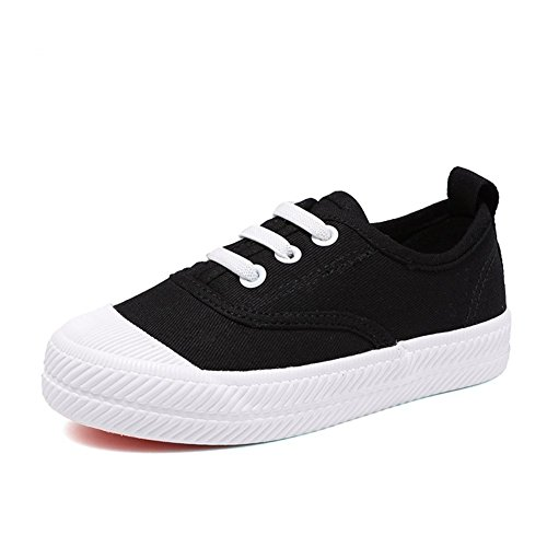 Price comparison product image Orlando Johanson New Boys and Girls Sneakers Lace up School Rubber Sole Canvas Shoes(Toddler / Little Kid / Big Kid) Black2.5 M US Little Kid Comfortable