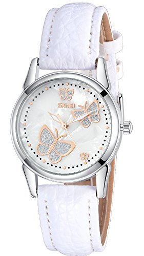 INWET Butterfly Women's Quartz Watch with Mother of Pearl Dial and White Leather Strap (Butterfly Watches)