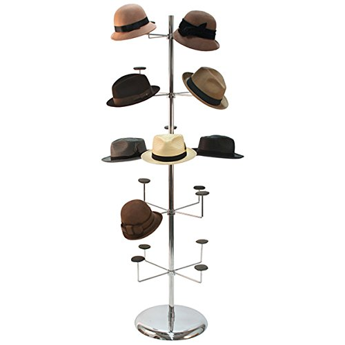 Hat Millinery Round Stand Retail Store Floor Display Rack 4 Levels 20 Caps New by Unknown