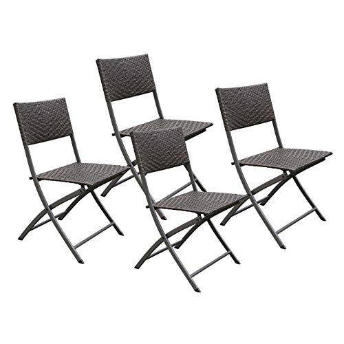 HL Patio 4-Pack Folding Chairs, Portable for Outdoor Camping, Beach, Deck Dining, Espresso Brown, Resin Rattan Steel Folding Chairs, 1 Year Warranty, No Assembly Needed (Resin Wicker Chairs)