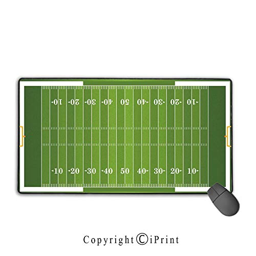 Waterproof Coated Mouse pad,Football,Sports Field in Green Gridiron Yard Competitive Games College Teamwork Superbowl,Green White,Suitable for laptops, Computers, PCs, Keyboards, Mouse pad with ()