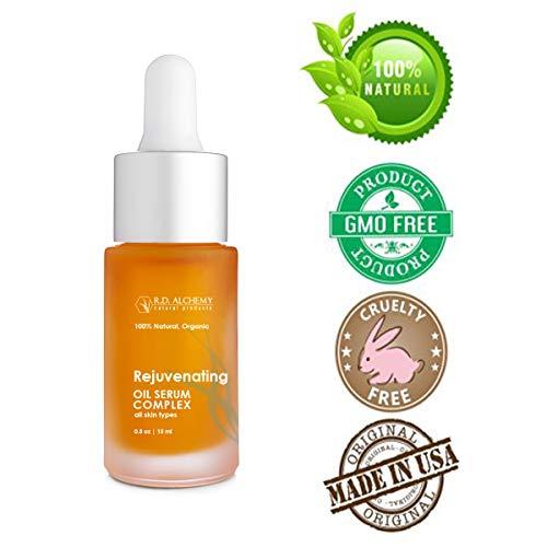 100% Natural & Organic Rejuvenating Oil Serum for Glowing Skin - Pure Argan + Jojoba, Retinol, CoQ10 for Anti-Aging Skincare, Sun Spots, Damage - Vitamin A & Rosehip Oil for Mature Skin. (Best For Glowing Skin)