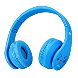 Kids Bluetooth Headphones, Wireless/Wired Foldable Adjustable Lightweight Headset with Mic, Noise Reduction Cancelling, for Phones Computer for Children/Boy / Girl/Teen / Family (Pale Blue)