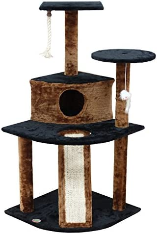 Go Pet Club Black Kitten Tree Condo with Scratching Board