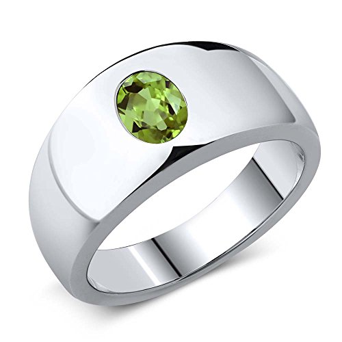 Gem Stone King 1.33 Ct Oval Green Peridot 925 Sterling Silver Men's Ring (Size 9)