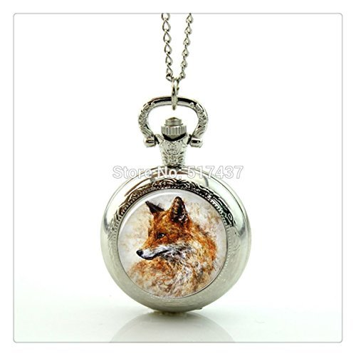- Fox Pocket Watch Women Watch Necklace Mini Glass Locket Necklace Style Retro Vintage Pocket Watch Necklace
