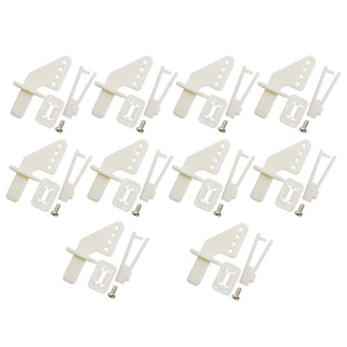 Electric Rc Model Parts - RuiLing 10 Sets Airplane 4-Hole Nylon Pin Control Horns and Self-Locking Clevis Kit Model Airplane Electric Aircraft RC Fixed-Wing DIY Parts Plug Type Self-Lock KT Rudder Angle