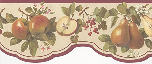 Blossom Apple Wallpaper - Wallpaper Border Apples Pears Cherries Berries & Blossoms Die Cut with Red Trim