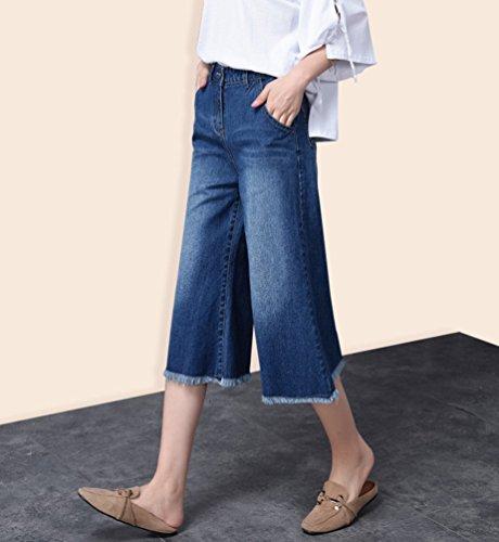 Flared Blu Bootcut Grossa Denim Gamba Pantaloni Senza Pantalone Casuale Larga Taglia Tookang Allungamento Jeans Donna Lunghi awZqP6