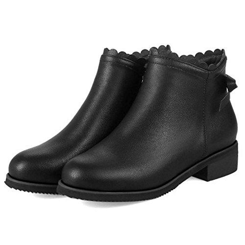 Fashion Zipper Bootie Black TAOFFEN Women's vUTxZ1Tn