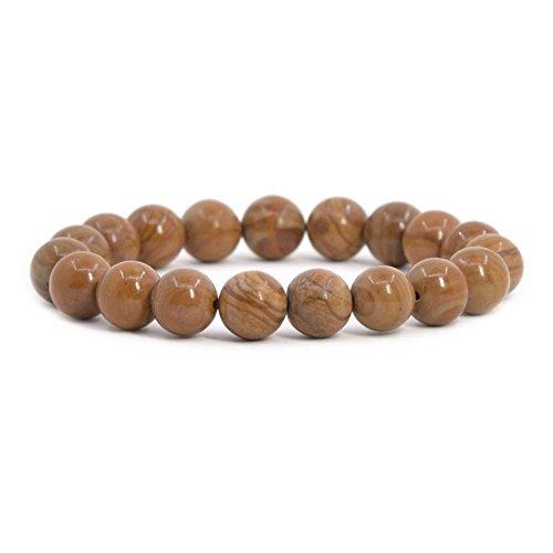 Natural Wood Jasper Gemstone 10mm Round Beads Stretch Bracelet 7