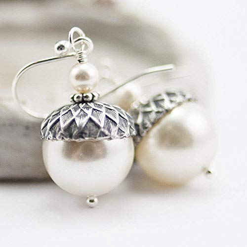 Acorn Earrings with Cream Colored Simulated Pearls from Swarovski, Sterling Silver Earwires ()
