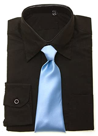 d20f056bb Boys black shirt sky blue tie - size 11-12 Years  Amazon.co.uk  Clothing