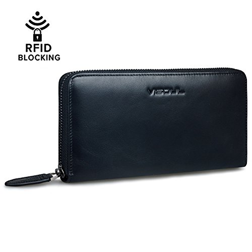 Women's Wallet, RFID Blocking Top Genuine Leather Luxury Purse with Card Slots, Zipper Around Clutch Large Capacity Travel Wallet for Men - Black -