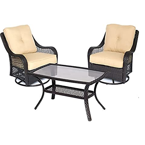 Hanover Orleans 3 Piece Patio Chat Set in Sahara Sand - Orleans Patio Furniture