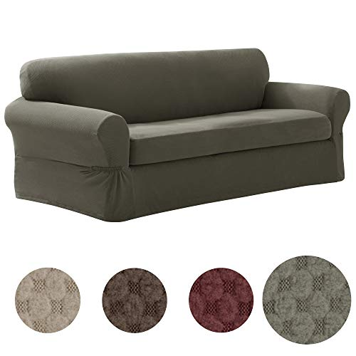 MAYTEX Pixel Ultra Soft Stretch Sofa Couch Furniture Cover Slipcover, Dusty Olive