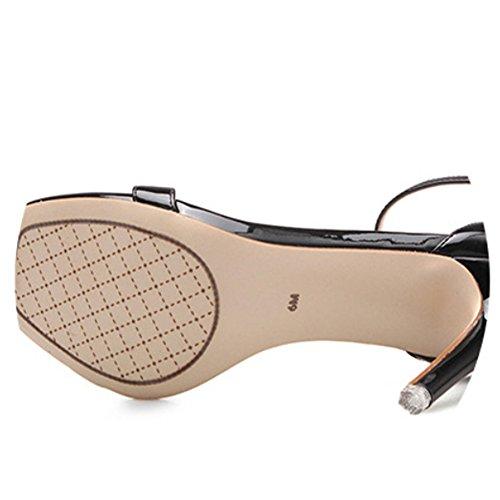 con Nero tacco tacco donna gancetto sandalo scarpe con aperte alto da Sandali e EwUq77