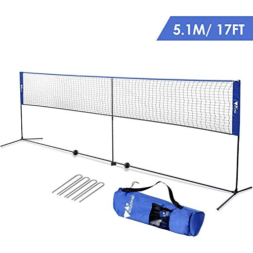 amzdeal Badminton Net 17ft Kids Volleyball Net Adjustable Portable Net for Tennis Pickleball, for Indoor/Outdoor Beach, Court, Backyard, with Stand/Frame