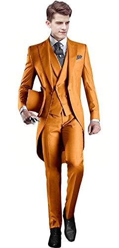 Everbeauty Mardi Gras Ginger Suit Men Formal Tux Jacket with Tails for Men Big and Tall -