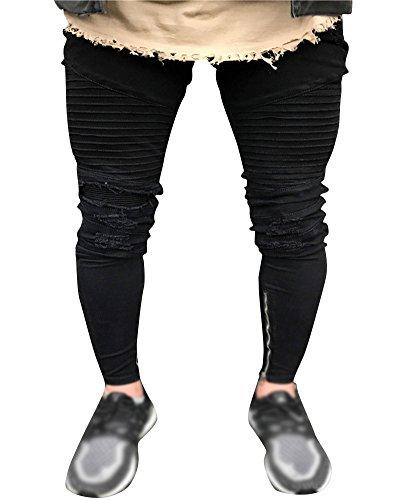 Mengmiao Pantalones Vaqueros Casual Slim Ajustado Elástico para Hombre Negro