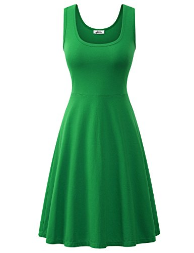 - Herou Womens Midi Dress with Sleeveless Cotton Casual Dark Green Large