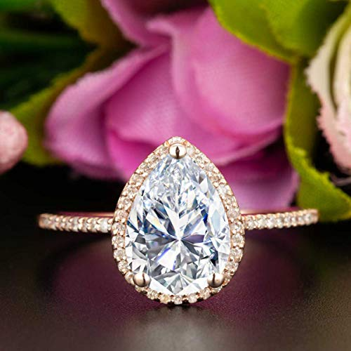 1.50 Carat Pear Shape Moissanite and Diamond Halo Engagement Ring In Rose Gold