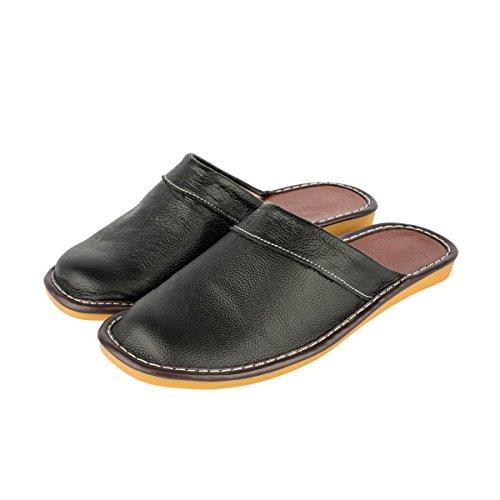 Haisum Tb008-m - Zapatillas de estar por casa de Piel Sintética para hombre negro