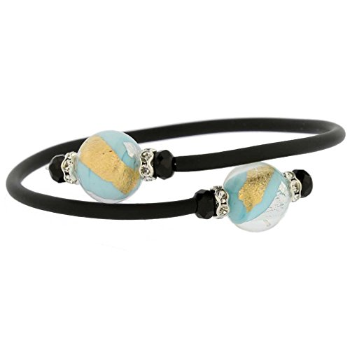(GlassOfVenice Murano Glass Venetian Glamour Bracelet - Turquoise Gold and Silver)