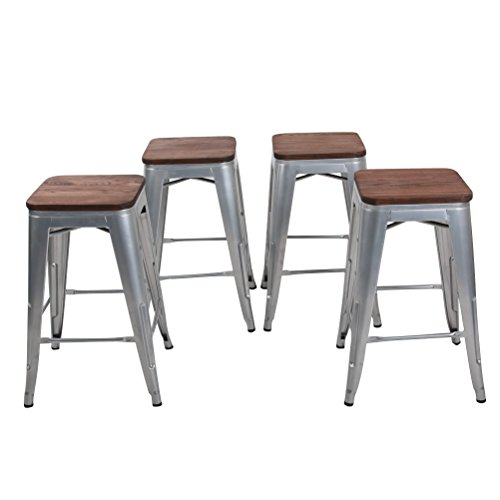 Awe Inspiring Changjie Furniture 26 Inch Backless Metal Bar Stool Kitchen Counter Bar Stools Set Of 4 26 Inch Silver With Wooden Top Unemploymentrelief Wooden Chair Designs For Living Room Unemploymentrelieforg