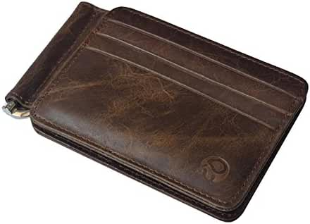 Badiya Men's Vintage Genuine Leather Bifold Money Clip Wallet Slim Card Holders
