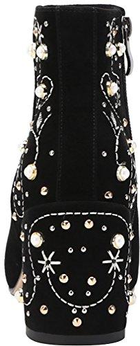 Chaussures qusscn Bloc Femme Fermeture 7 Calaier Éclair Bottes Noir 5CM wIqax8548