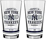 """MLB 16-ounce """"Property Of"""" Mixing Glass Set - Pint Glass - Perfect for Cold Beverages, Soda & Wa"""