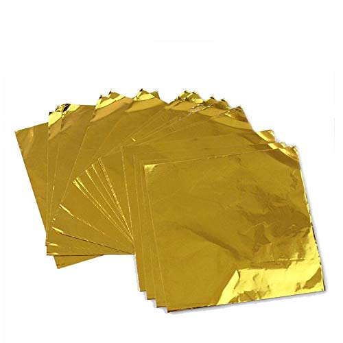 Gold Colored Foil - Wgg Aluminum Foils Paper Chocolate Candy Wrapping/Packing Papers, Gold, 6x6 Inches, Pack of 200