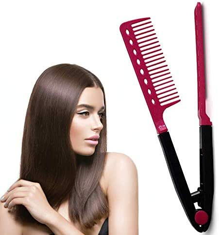 Hair Straightening Comb for Flat Iron – Professional Comb Hair Straightener Heat Resistant Styling Comb with A Firm Grip for Brazilian Keratin Treatment and Straightening Using Iron/Blow Dryer