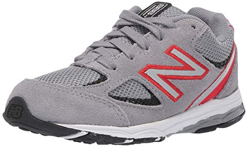 New Balance Boys' 888v2 Running Shoe, Steel/Velocity RED, 3 XW US Infant