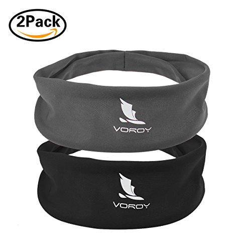 Diy Contemporary Dance Costume (Headbands for Men and Women 2 pack Head Sweatband Best for Sports Running on Yuga Working Out Elastic Bandana Sport Headwear absorbency and comfortable (2PC-gray/black))
